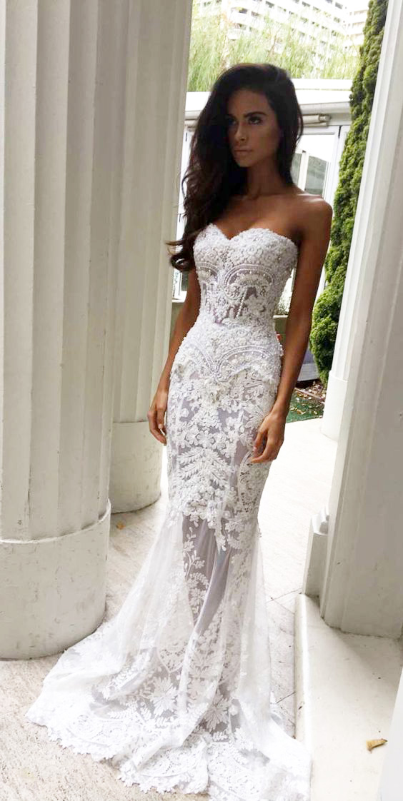 Lace Wedding Dress Charming Sheath Sweetheart Dresses With Liques Strapless Bridal Long