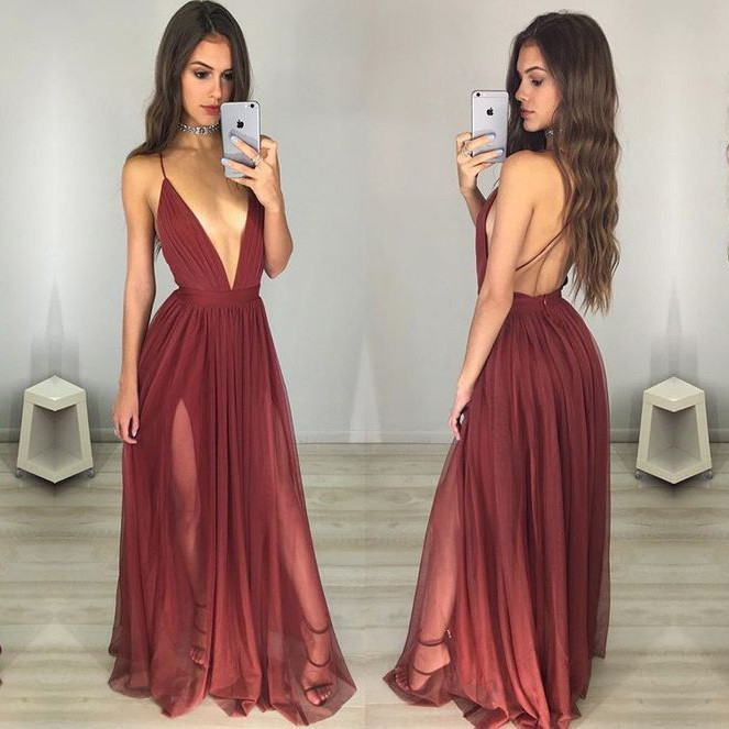 Prom Dress,Sexy Elegant Maroon Prom Dresses,Deep V-neck Long ...