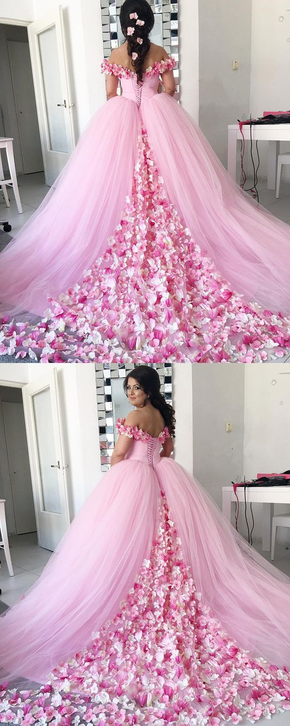 Pink Tulle Floral Flower Wedding Dressball Gowns Wedding Dresses