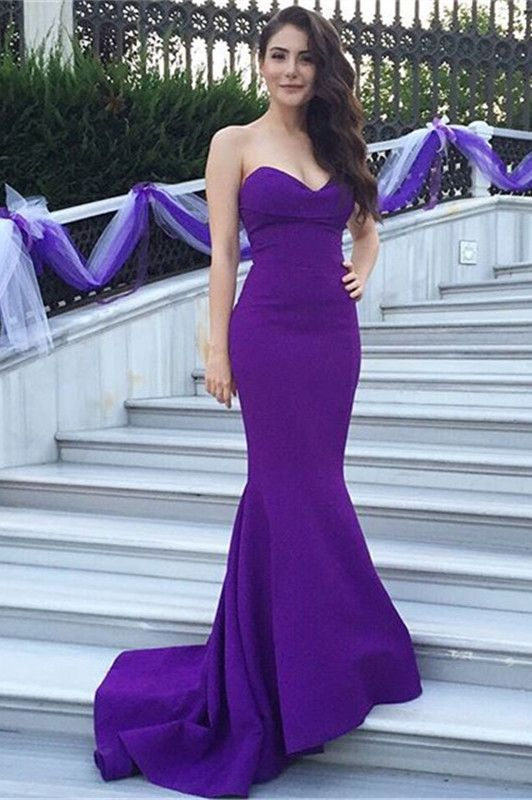 Purple Evening Dresses Y Mermaid Long Women Satin S Wedding Party Prom Dress