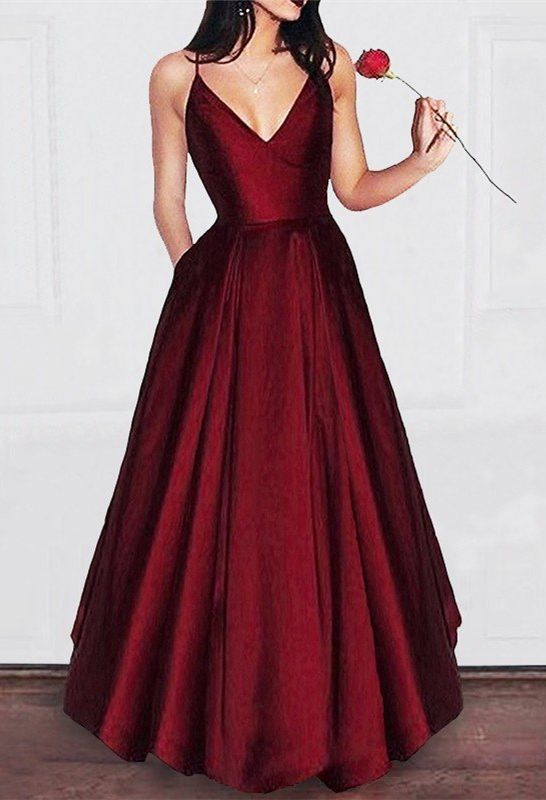 454b8aeea529 simple satin prom dress,long burgundy prom dresses with pocket,Dark red  spaghetti straps evening dresses,cheap prom party gowns
