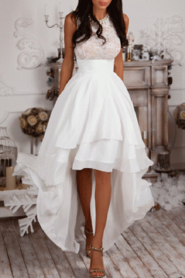 Formal Dress Y High Low Dresses Ivory Chiffon Evening Sleeveless Prom Quality