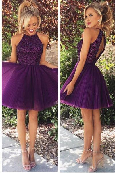 Sexy Open Back Halter Homecoming Dressespurple Beaded Homecoming