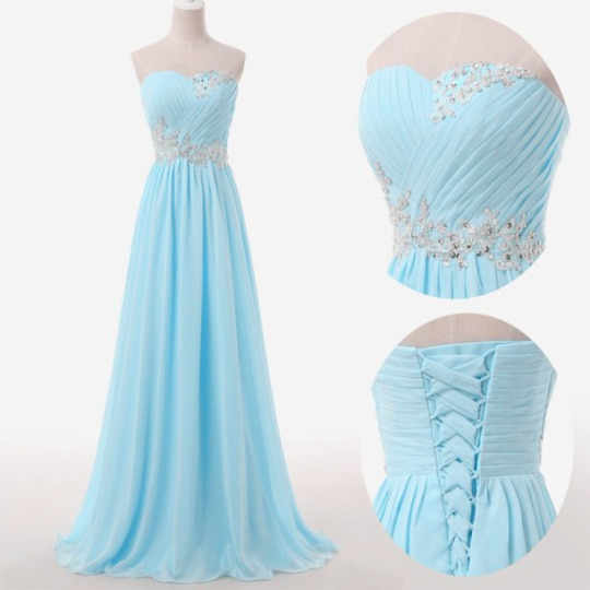 Long Light Blue Chiffon Prom Dresses,Sweetheart Ruched Evening Dress ...