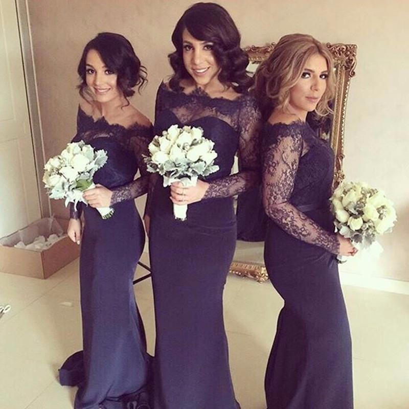 Navy Blue Bridesmaid Dresses Mermaid Dress Lace Chiffon Long Sleeve