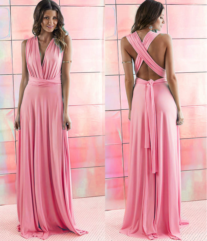 Charming Simple Pink Prom Dresses Deep V Neck Evening Dress Cross