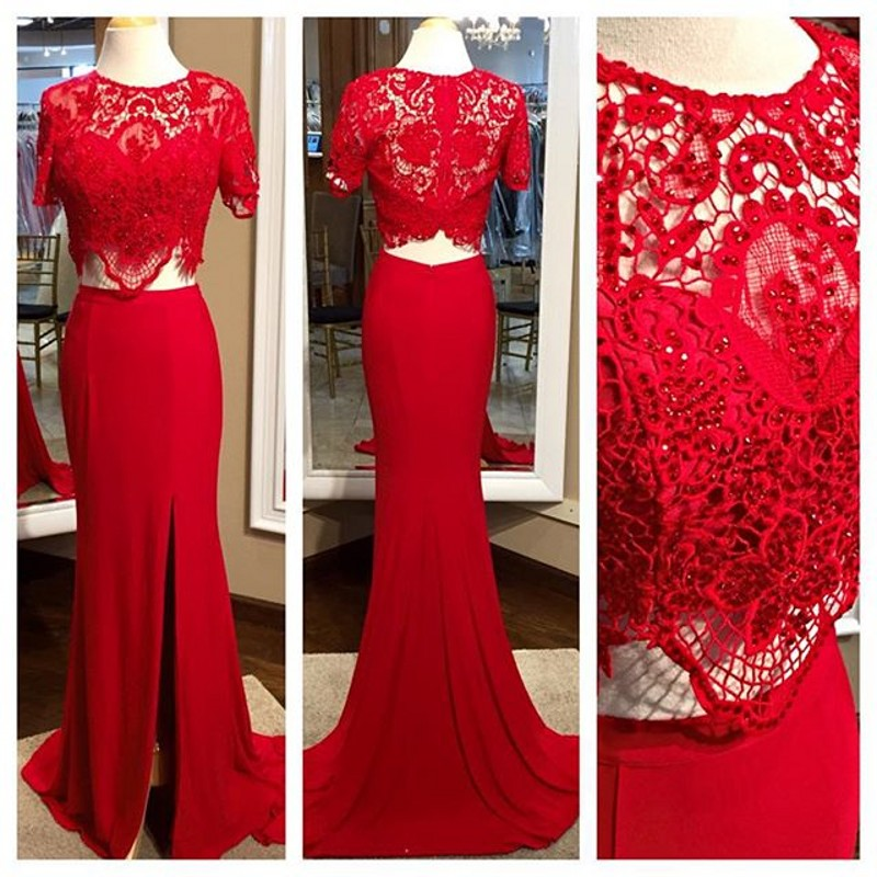 Red Two Pieces Prom Dresses, Red Lace Beading Prom Dress,Sexy Side Slit Prom Dress,Bridesmaid Dresses,Formal Dresses,Wedding Guest Dresses, Cocktail Dresses, formal dresses,Wedding guests dresses