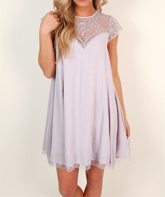 Cute Lilac Homecoming Dress,Short Sleeve Prom Dress, Tulle Casual ...