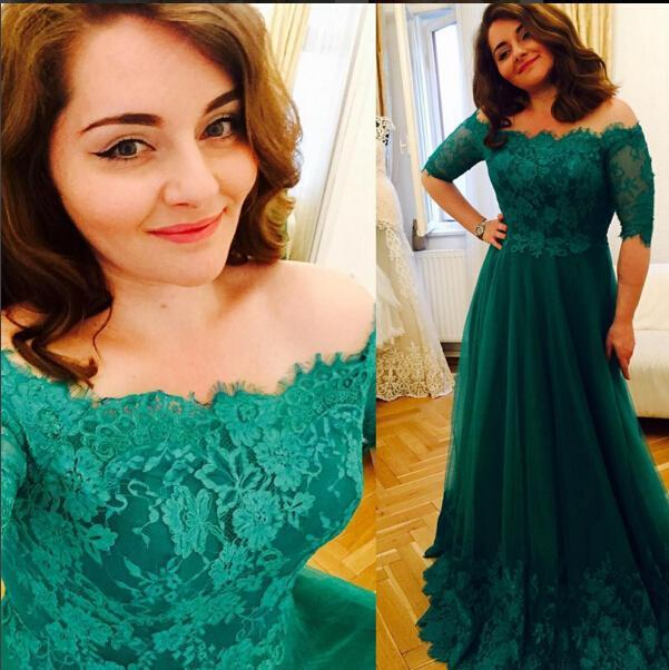 Princess Green Lace Prom Dresses Short Sleeve A Line Tulle Prom ...