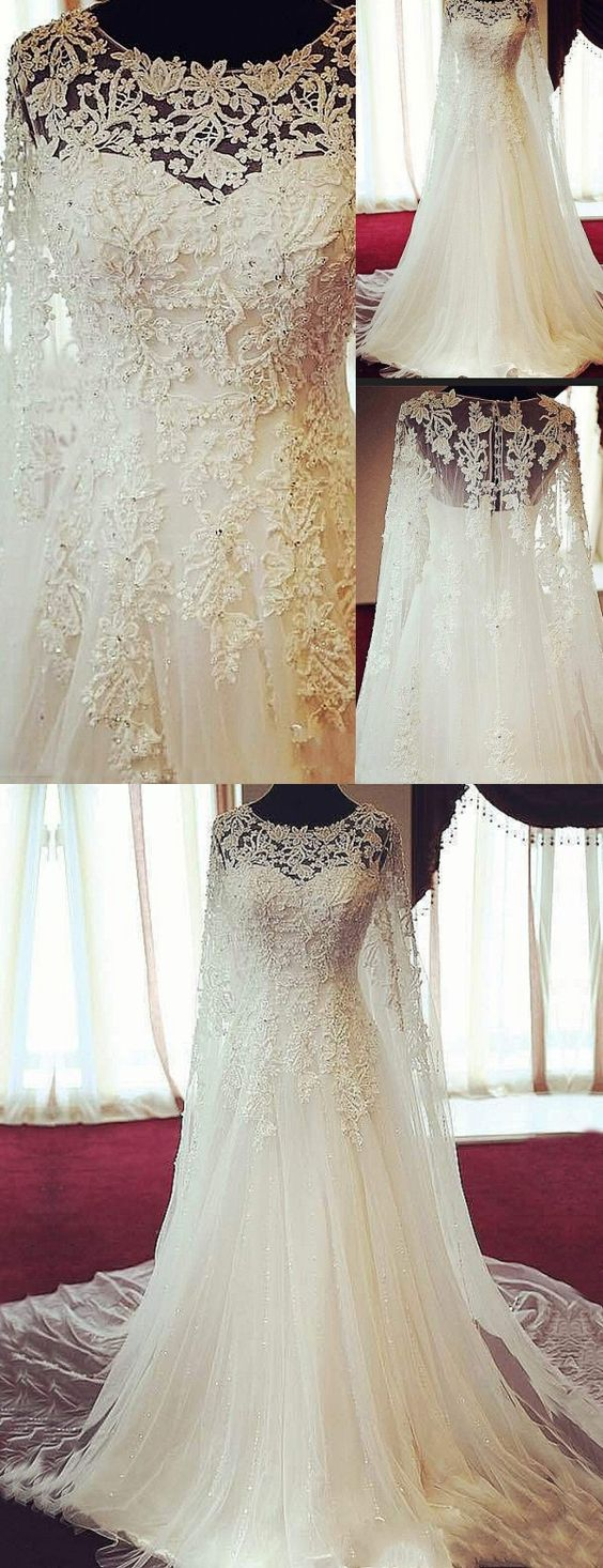 Gorgeous Scoop Long Sleeves Bridal Dress, Appliques Wedding Dresses, Bride Gowns