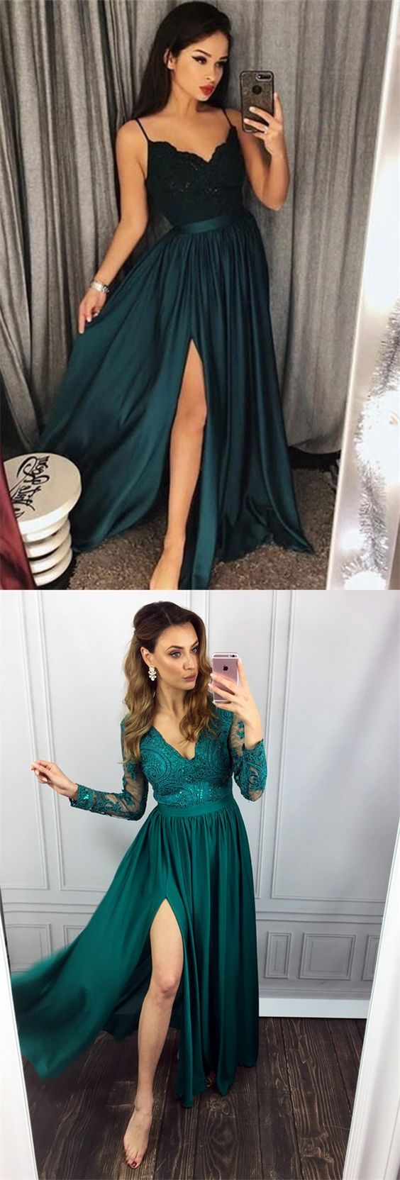 ae34fc9fe59 Dark Green Lace Long Prom Dresses