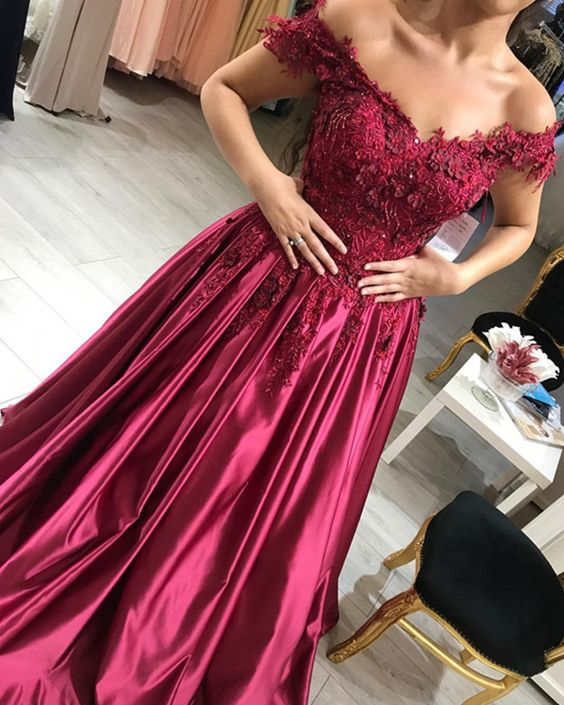 d61071d5f83c Wine Red Satin Prom Dresses V-neck Lace Embroidery Evening Gowns Off  Shoulder