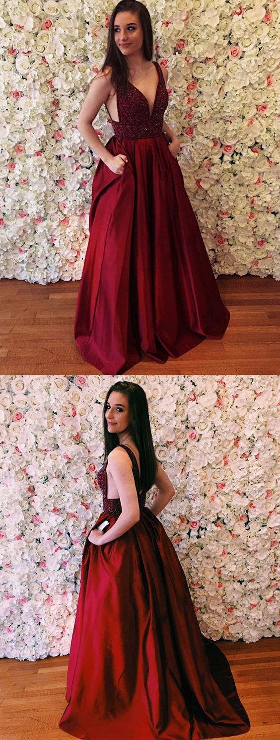 A-Line V-Neck Prom Dresses,Sweep Train Burgundy Satin Prom Dress with Beading Pockets,Long Prom Dresses, Formal Evening Gown