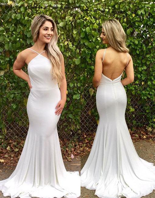 Long White Mermaid Prom Dress