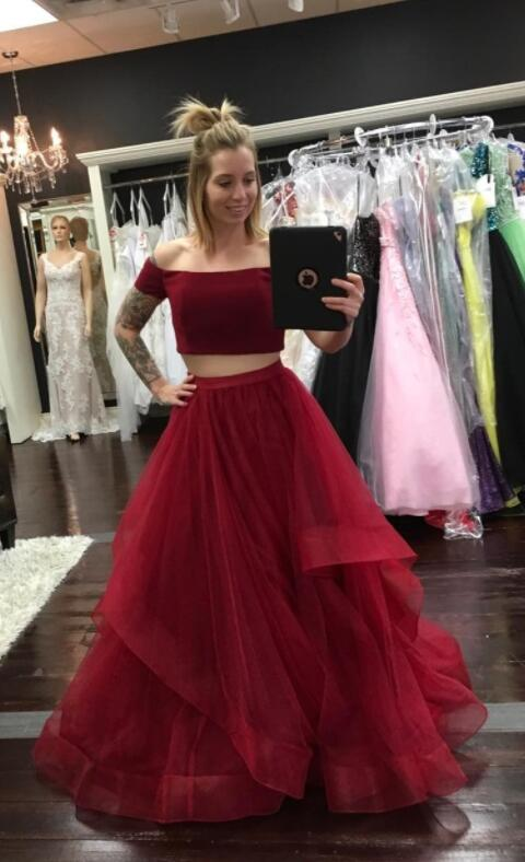 Burgundy Tulle Prom Dress Sexy Two Piece Prom Dresses Long