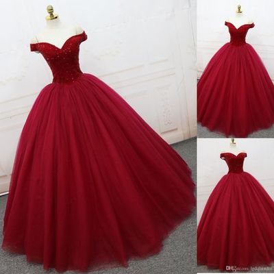 Red Ball Gown Prom Dress, Elegant Off