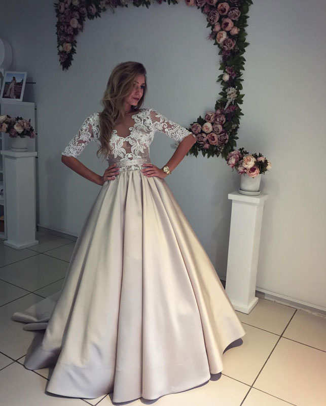 Champagne Satin Lace Wedding Dress Prom Dresses Modest Bridal Y