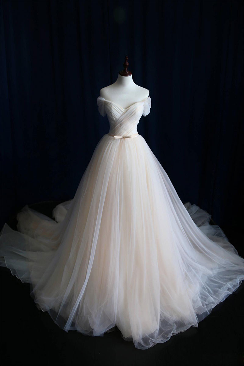 Simple Light Champagne Wedding Dresses,tulle