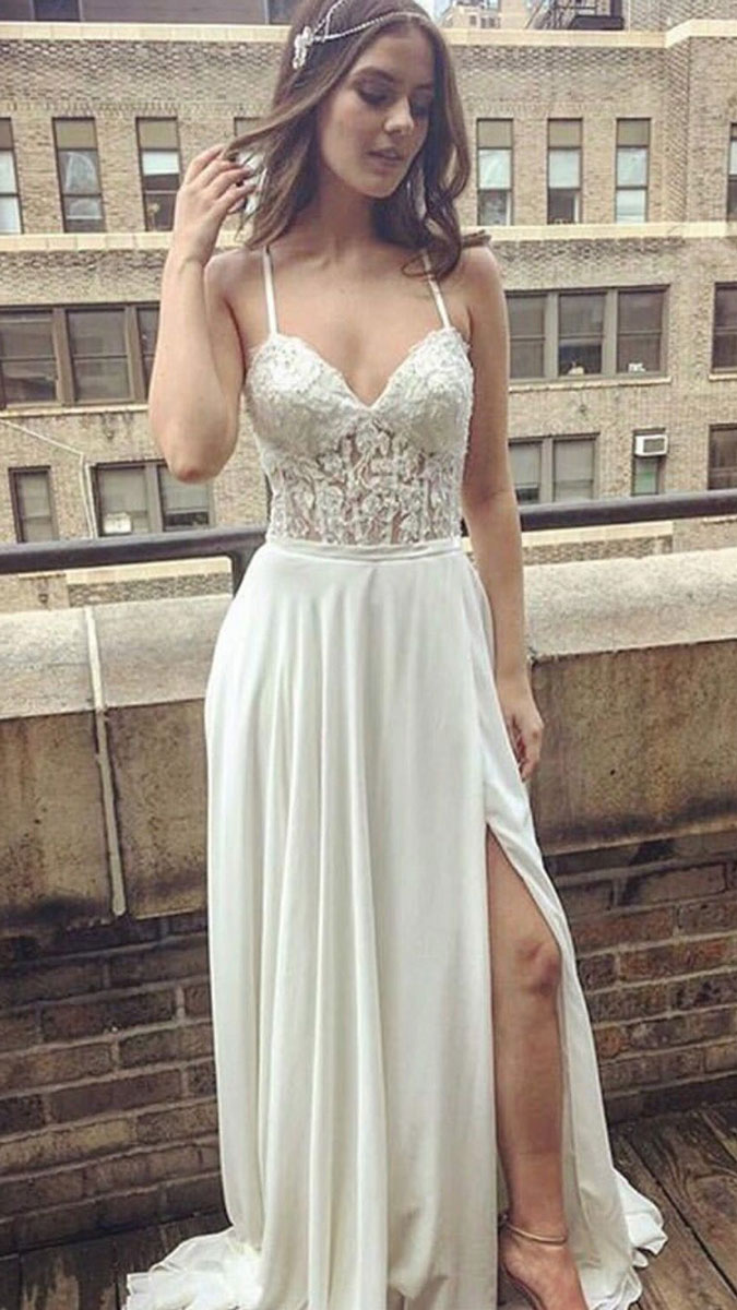 3ef444b63cf9 Simple White Lace Long Prom Dress
