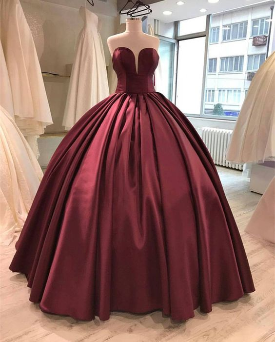 Burgundy Prom Dress Ball Gown,maroon Wedding Dress,wine