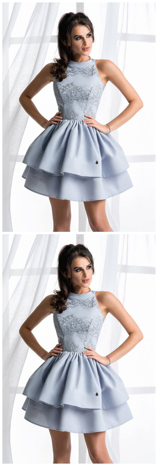 Homecoming dresses ,Lace Homecoming Dresses,Light Blue Ball Gown,Satin Homecoming Dresses