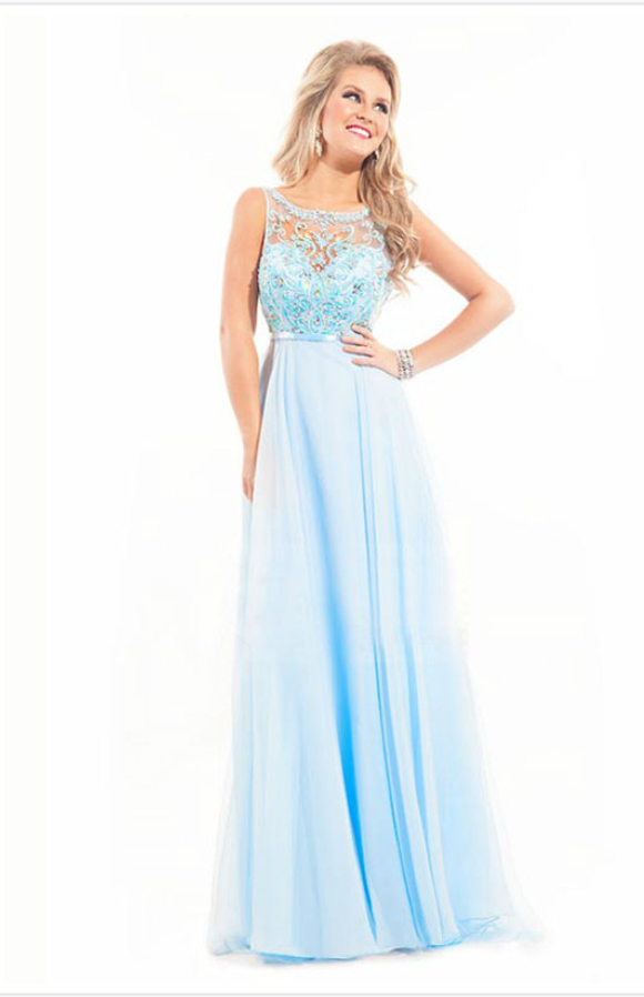 A-line Bateau Sleeveless Chiffon Prom Dresses/Evening Dresses