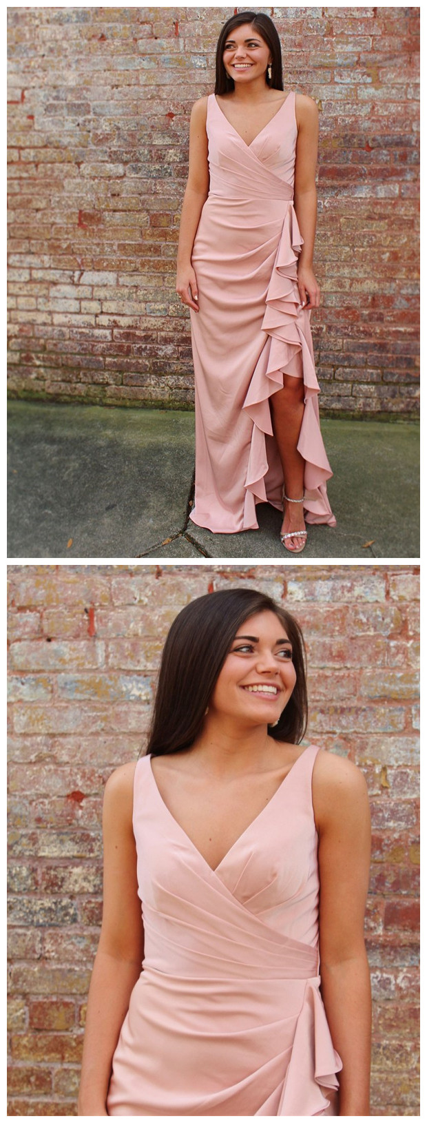 Long V-neck High Low Formal Dresses Blushing Pink Pleated Ruffles Prom Dress