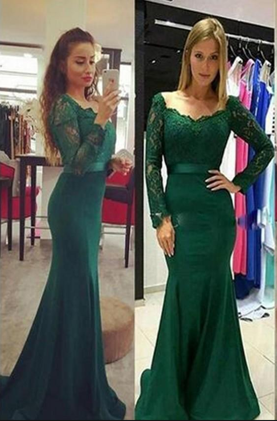 669b2b3901e1 Graceful Forest Green Lace Evening Dresses , Elegant Long Sleeves Mermaid Evening  Gowns ,Lace Prom
