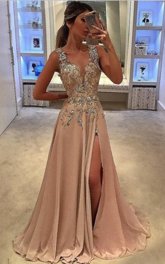 A-Line Deep V-Neck Sweep Train Champagne Chiffon Prom Dress with Appliques,Cheap prom dresses ,Charming Prom Dress, Sexy Prom Dresses,Lace Evening Dress