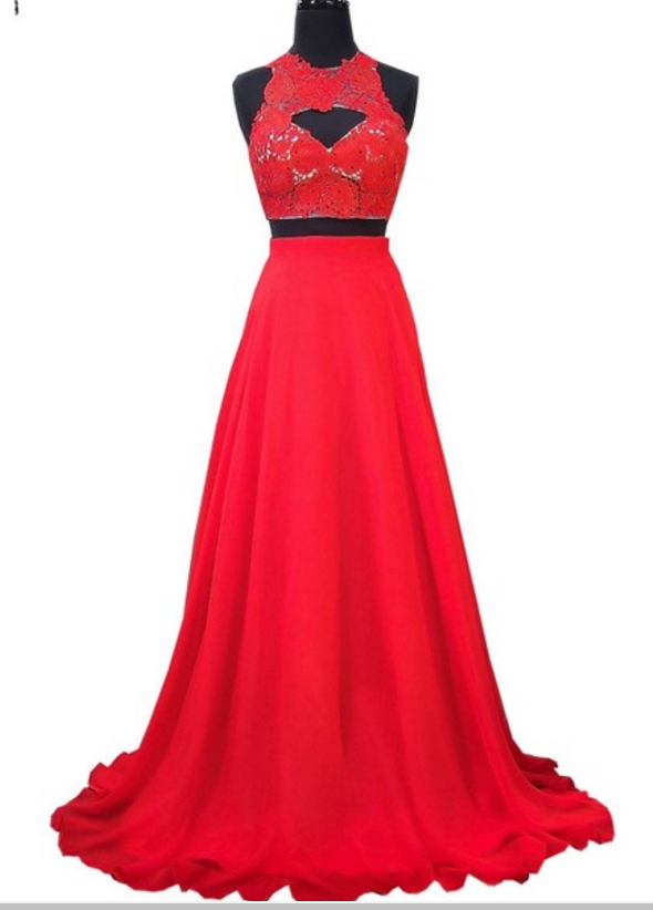 elegant lace African red Prom Dress,chiffon dress with two ball gowns,sexy Prom Dresses,Lace Evening Dress