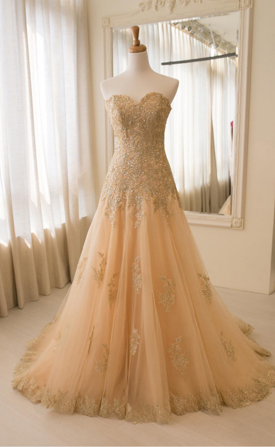 Strapless Champagne Wedding Dress,Appliques evening dresses, Sexy Bridal Dresses,Lace Evening Dress