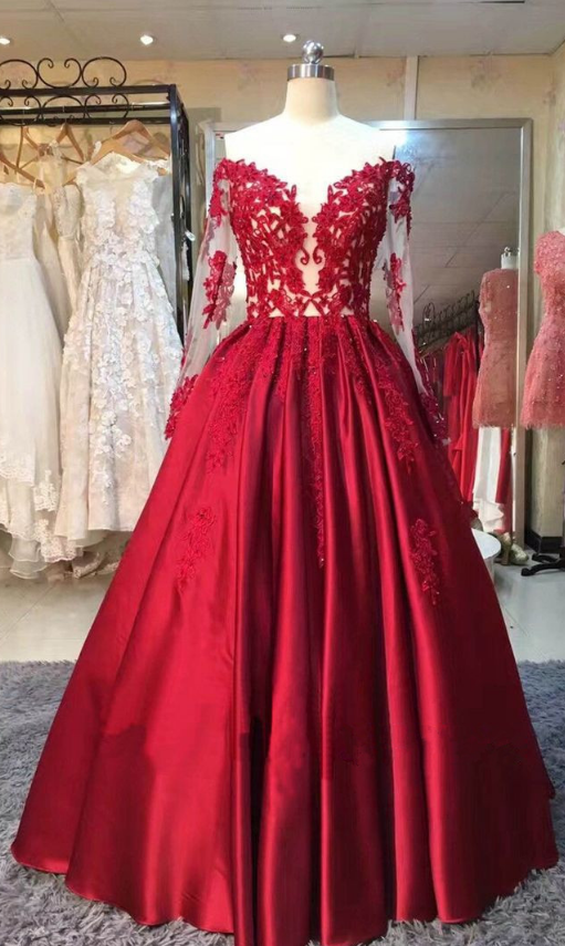 Long Sleeves Red Ball Gown prom dresses ,Charming Prom Dress, Sexy Prom Dresses,Lace Evening Dress