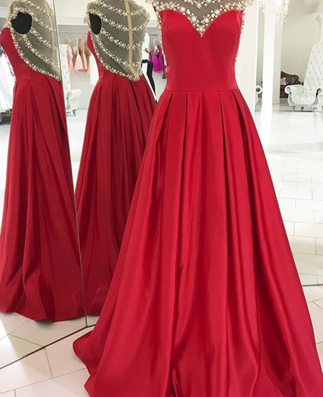 Sexy Prom Dress,Sheer Neck Pearl Beading Prom Dresses, Charming Prom Gown, Formal Red Prom Evening Dresses