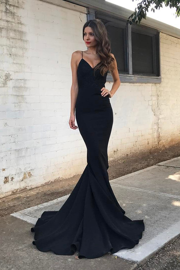 a33978a996b46 Mermaid Spaghetti Straps Formal Dress,Sweep Train Black Stretch Satin Prom  dress,Cheap Formal Dresses, Cheap Evening Dresses,Sexy Prom Dresses,Evening  Dress