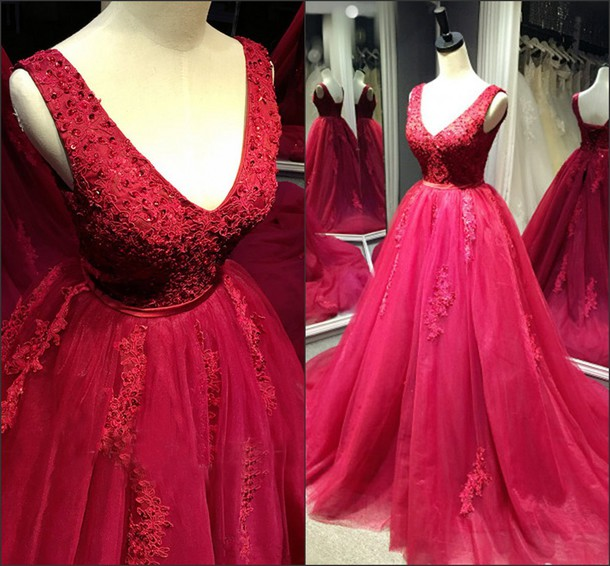 Red Tulle Ball Gown Lace Applique Formal Gowns, Prom Gowns, Party Dresses,Long Evening Dress
