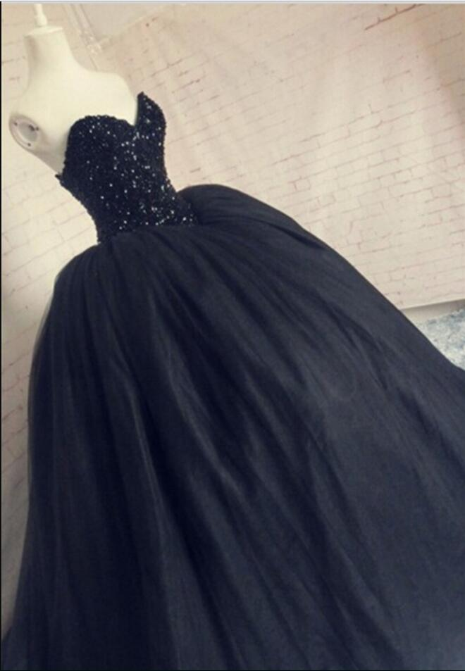 Ball Gown Tulle Prom Dresses Crystals Black Long Women Prom Dresses