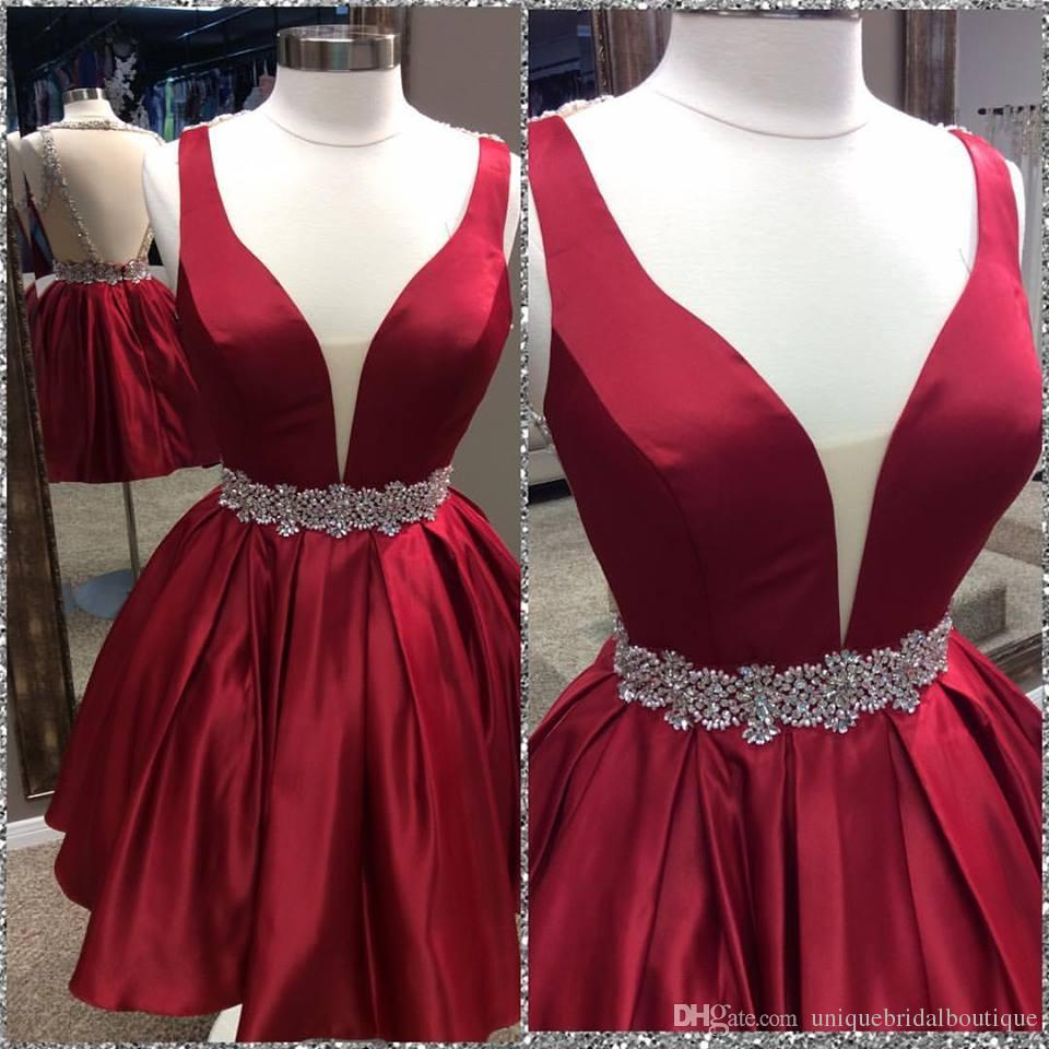 3acd5d1be68d Homecoming Dress,Sexy Elegant Homecoming Dresses, Cute A-line Dark Red  Homecoming Dress with Open Back,High Quality Graduation Dresses,Wedding  Guest Prom ...