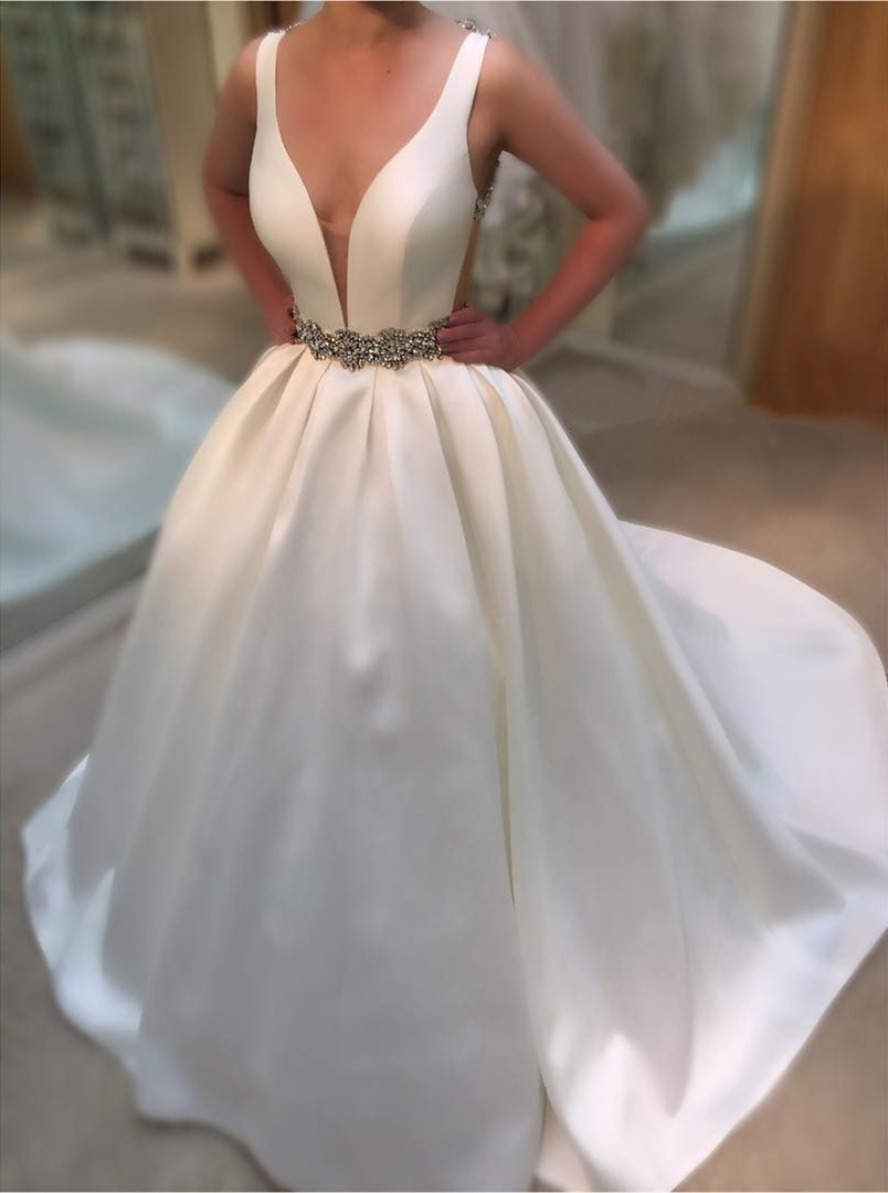 Wedding Dresses, Wedding Gown,Deep V Neck White Satin Ball Gowns Wedding Dresses,Vintage Bridal Gowns
