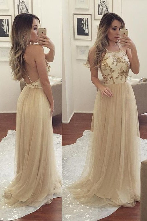 A-line Sleeveless Spaghetti-Strap Chiffon Newest Beads Prom Dress