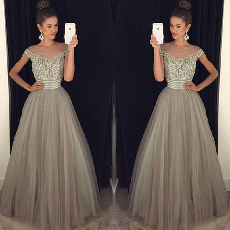9852a87ab7c Beadings Crystal Evening Gowns A-Line Glamorous Tulle Long Prom Dress