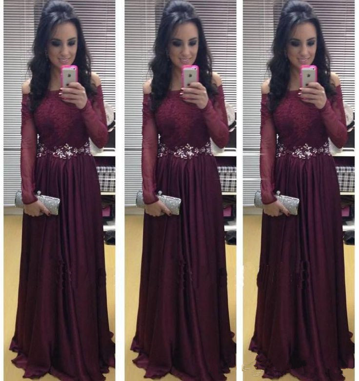 Burgundy Prom Dresses,Fashion Evening Dresses,A Line Evening Dress,Chiffon Party Gowns,Formal Gown with Long Sleeves Sexy Lace Appliques Prom Gowns