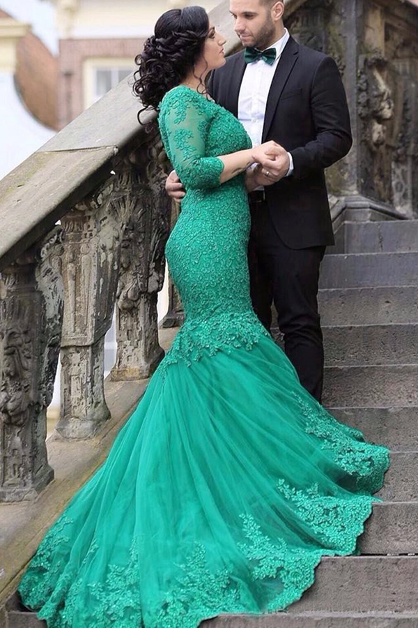 e252015ecc2 Mermaid Long Sleeves V-neck Appliques Beading Lace-up Green Prom Dress