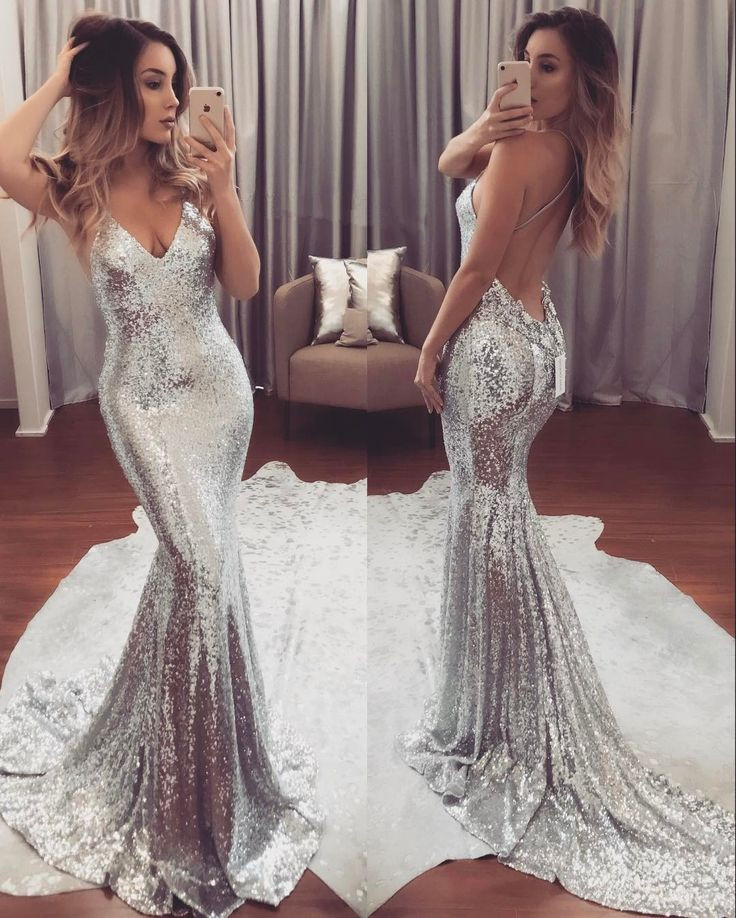 47535a86cacb Silver Sequin Prom Dress, Prom Dresses,New Prom Gowns,Evening Gown,Backless