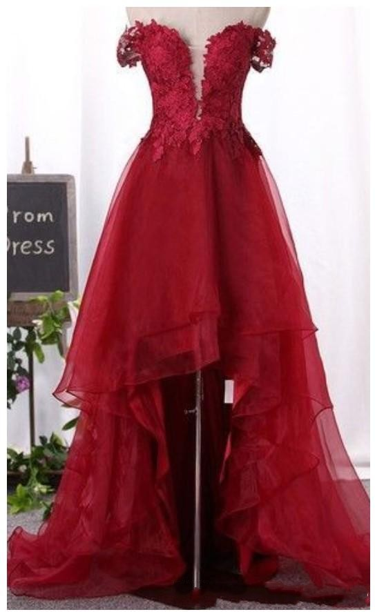 Burgundy High Low Prom Dresses,Cocktail Party Dresses, Lace Organza Off Shoulder Sleeves Short Prom Dress, Burgundy Homecoming Party Evening Gowns