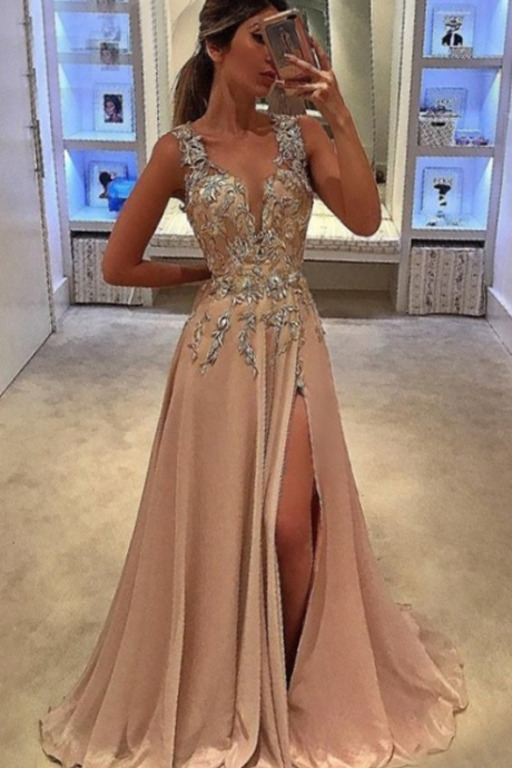 A-Line Deep V-Neck Prom Dress,Sweep Train Champagne Prom Dresses,Chiffon Prom Dress, with Appliques Evening Dresses