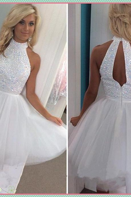 Short Homecoming Dress, white prom dress, knee-length prom dress, pretty prom dress, junior prom dress, available prom dress, beading prom dress, party dress