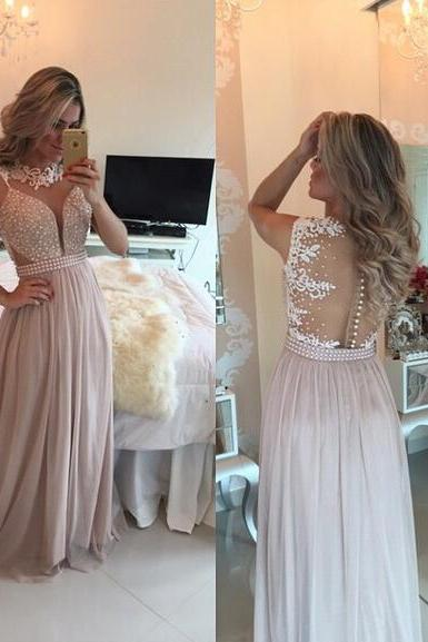 chiffon Prom Gown,Pretty Off Shoulder Prom Dress,Chiffon pink Prom Dresses With Lace, Evening Gowns, Formal Dresses, pink Prom Dresses