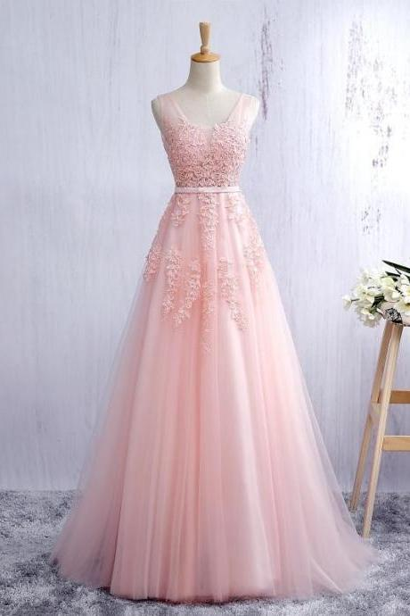 Pink V Neck Tulle Prom Dress, Open Back A Line Formal Gown With Lace Appliques,Lace Evening Dress,Evening Gowns,Lace Party Gowns