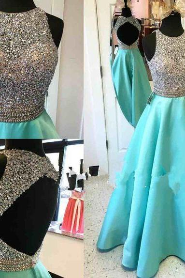 New Fashion A-line Backless Prom Dresses Prom Party Dress Formal Gowns with Crystals,Evening Gowns,Lace Party Gowns