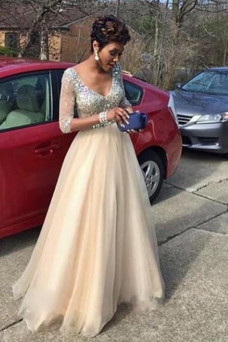 Charming Evening Formal Gown,Long Sleeve Evening Dress,Tulle Prom Dress,A Line Beaded Prom Gown